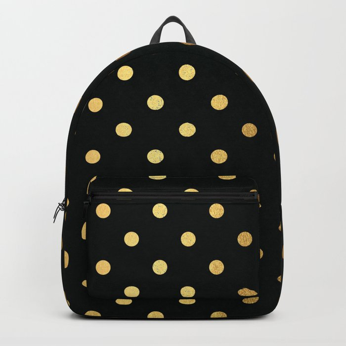 Gold polka dots on black pattern Backpack