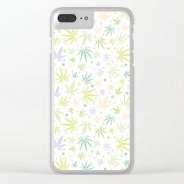 Cute Pastel Cannabis Pattern Clear iPhone Case