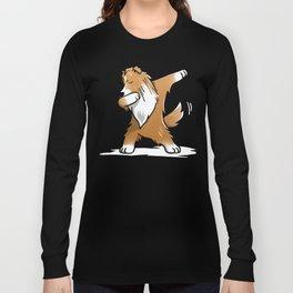 Funny Dabbing Shetland Sheepdog Dog Dab Dance Long Sleeve T-shirt