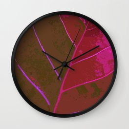 Leaf Texture in Red Wall Clock