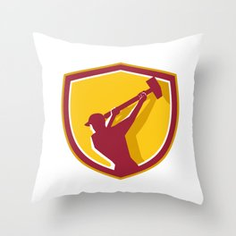 Demolition Worker Sledgehammer Crest Retro Throw Pillow