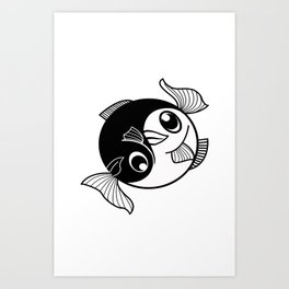 Fishy Yin Yang Art Print