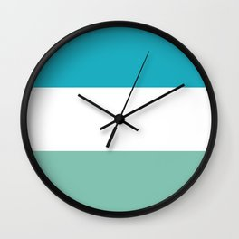Lucite green and scuba blue stripes Wall Clock