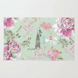 Vintage green pink floral collage typography Rug