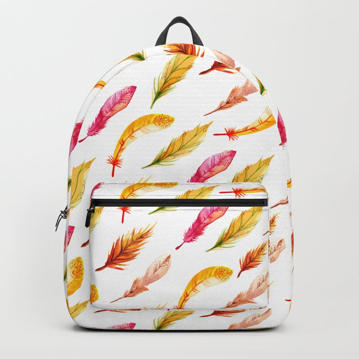 colorful feather pattern Backpack