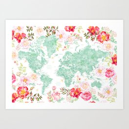 Mint green and hot pink watercolor world map with cities Art Print