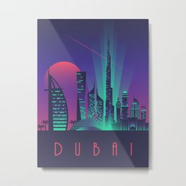 Dubai City Skyline Retro Art Deco Tourism - Night Metal Print
