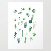 cacti Art Prints featuring Cacti by Veronica Tran