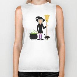 Cute Witch Girl And A Black Cat Halloween Design Biker Tank