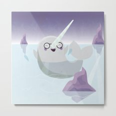 Norman the Near-Sighted Narwhal Metal Print