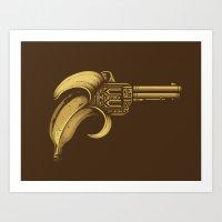 banana Art Prints featuring Banana Gun by Enkel Dika