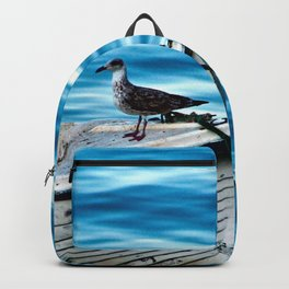 Seagull on an Anchored White Boat Backpack