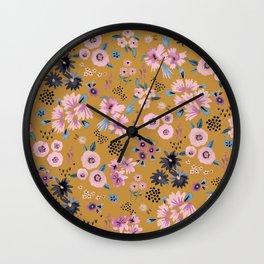 Artful little flowers Gold yellow Wall Clock