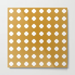 Smudgy Painted Swiss Cross Pattern in White and Mustard Gold Metal Print