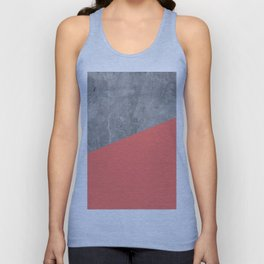 Living Coral on Concrete Geometrical Unisex Tank Top