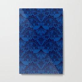 Stegosaurus Lace - Blue Metal Print
