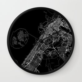 Dubai Black Map Wall Clock