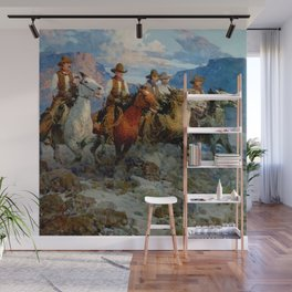 """""""Riders of the Dawn"""" by Frank Tenney Johnson Wall Mural"""