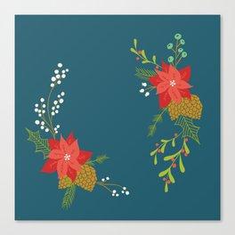 Winter Florals on Blue Canvas Print