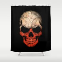 poland Shower Curtains featuring Dark Skull with Flag of Poland by Jeff Bartels