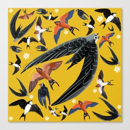 Swallows Martins and Swift pattern Yellow Canvas Print
