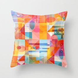Whimsical Sunny Geometry Throw Pillow