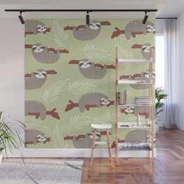 Funny sloth pattern Wall Mural
