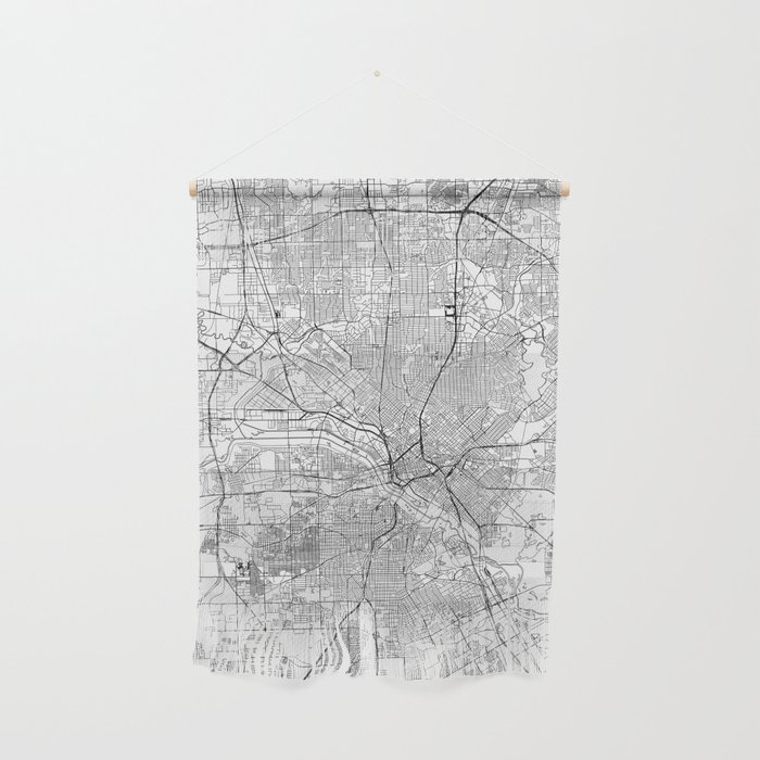 Dallas White Map Wall Hanging