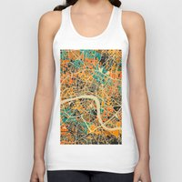 london map Tank Tops featuring London Mosaic Map #3 by Map Map Maps