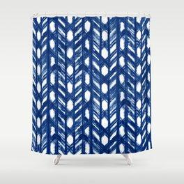 Indigo Geometric Shibori Pattern - Blue Chevrons on White Shower Curtain