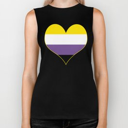 Gender Non-Binary Heart Biker Tank