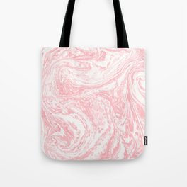 Elegant coral pink white watercolor abstract marble Tote Bag