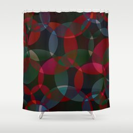 Abstract soap made of cosmic transparent green circles and claret bubbles on a dark background. Shower Curtain