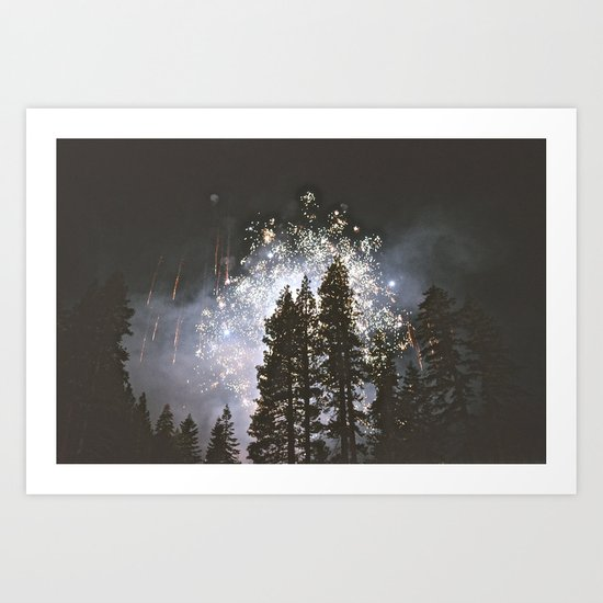 Fireworks In the night sky Art Print