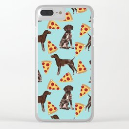 German Shorthair Pointer dog breed pet art pizza slices pattern design by pet friendly dog lovers Clear iPhone Case