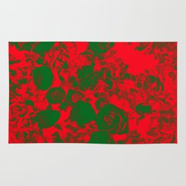 Deep Red Damask Roses Rug