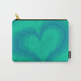 Abstract Blue Green Heart Wave Pattern | Valentine's Day Carry-All Pouch