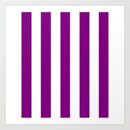 Patriarch violet - solid color - white vertical lines pattern Art Print