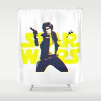 han solo Shower Curtains featuring Solo by Aaron Johnson Design