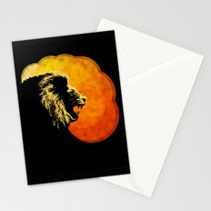 NIGHT PREDATOR : lion silhouette illustration print Stationery Cards
