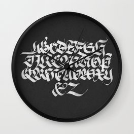 Gothic Calligraphy Alphabet (I) Wall Clock