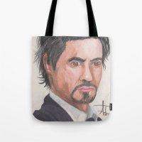 robert downey jr Tote Bags featuring Robert Downey Jr. by Adrian Casanova