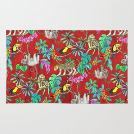 Rainforest Friends - watercolor animals on textured red Rug