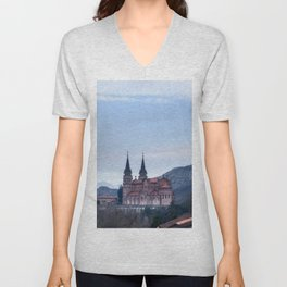 Basilica of Covadonga in the mountains, Spain Unisex V-Neck