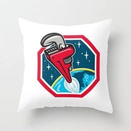 Pipe Wrench Rocket Booster Blasting Space Hexagon Retro Throw Pillow