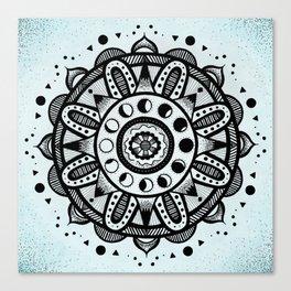 Moon Phases Mandala Canvas Print