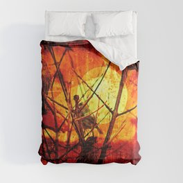 Sunset Birds Tree Bare Branches Comforters