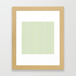 Color of the Year 2017 Greenery and White Mattress Ticking Stripes Framed Art Print
