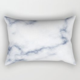 Marble White & Blue Rectangular Pillow