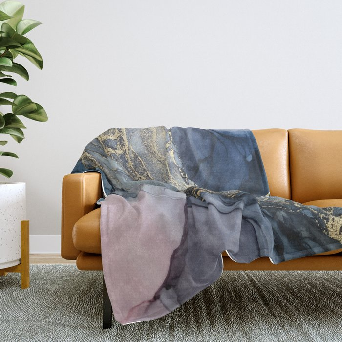 Blush, Payne's Gray and Gold Metallic Abstract Throw Blanket